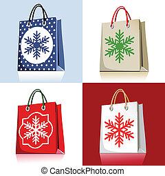 袋, セット, 買い物, クリスマス