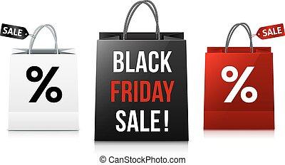袋, セット, 買い物, 金曜日, セール, 黒, 白, 赤