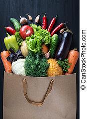 袋, テーブル。, 新たに, 黒, 木製である, 野菜