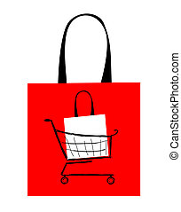 袋, デザイン, 買い物, あなたの, 赤
