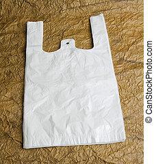 袋, ハンドル, ブラウン, paper., デザイン, 白