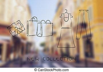袋, ファッション, 買い物, &, choices:, ジーンズ, イラスト, 服