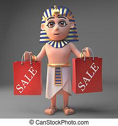 袋, ファラオ, 漫画, 赤, tutankhamun, 買い物, イラスト, 特徴, 3d, 2, 保有物