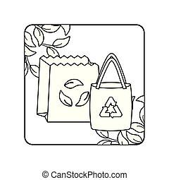 袋, フレーム, ペーパー, 生態学的, leafs