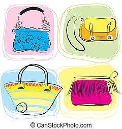 袋, ベクトル, セット, 女性