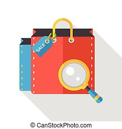 袋, ペーパー, 買い物, 平ら, アイコン