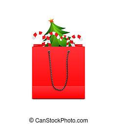 袋, ペーパー, 買い物, 赤