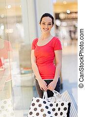 袋, モール, 女性買い物