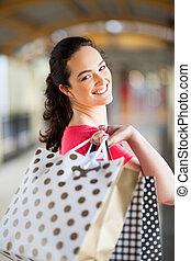袋, モール, 女性買い物, 届く
