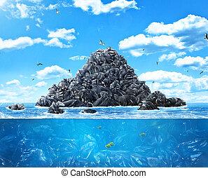 袋, 世界的である, ごみ, pollution., ?oncept, nature., planet., たくさん, ...