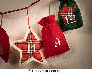 袋, 作られた, ひも, 到来, 掛かること, カレンダー