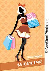 袋, 女の子, ファッション, 買い物, 背景