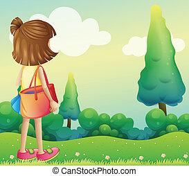 袋, 女の子, 丘の上