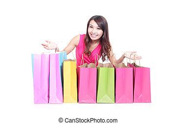 袋, 女の子, 買い物, 若い, あること