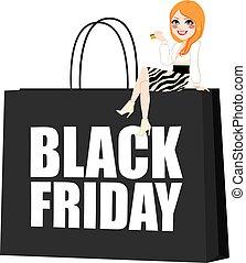 袋, 女の子, 金曜日, 黒