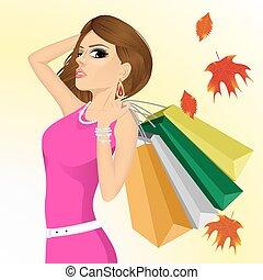 袋, 女性買い物, ごう慢である, 若い