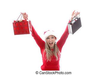 袋, 女性買い物, クリスマス, 保有物