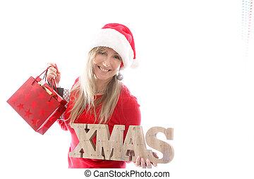 袋, 女性買い物, 印, 保有物, クリスマス