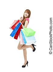袋, 女性買い物, 若い, アジア人, 幸せ