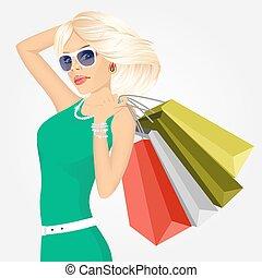 袋, 女性買い物, 若い
