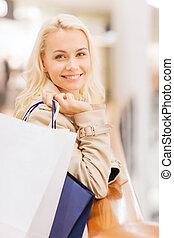 袋, 女性買い物, 若い, モール, 幸せ