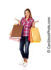 袋, 女性買い物, 若い, 保有物, 微笑