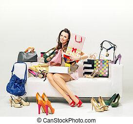 袋, 女性買い物, 若い, 朗らかである, 大いに