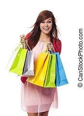 袋, 女性買い物, 若い, 流行