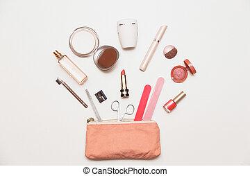袋, 女性, 化粧品, handbags., 作りなさい, 中身, の上