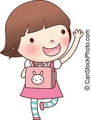 袋, 学校の 女の子, 肖像画