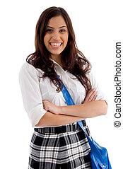 袋, 学校, 彼女, かなり, 女性