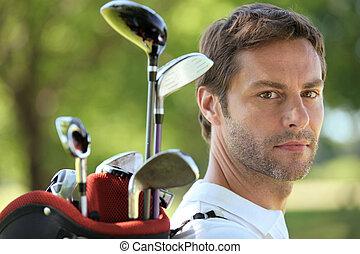 袋, 届く, ゴルフ, 人