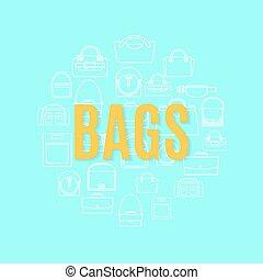 袋, 形, 円, 線, アイコン