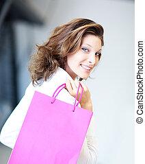 袋, 微笑の 女性, 買い物, 保有物