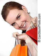 袋, 微笑, 買い物, 女の子, 保有物