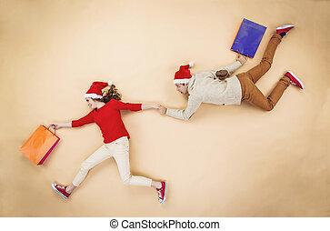 袋, 恋人, 買い物, クリスマス