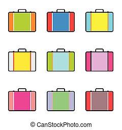 袋, 旅行, セット, イラスト, 型