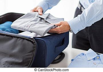 袋, 旅行, 衣服, パッキング, ビジネスマン