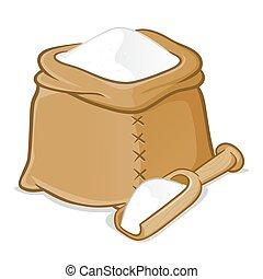 袋, 木製の大さじ, 小麦粉