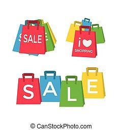 袋, 概念, 買い物の色, -, セール