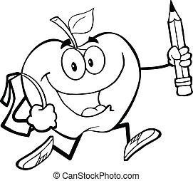 袋, 概説された, アップル, 学校