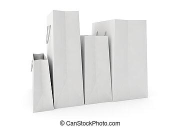 袋, 白, ペーパー, 背景