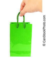 袋, 白, 緑, 隔離された, 手