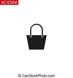 袋, 線, 買い物, icon., セール