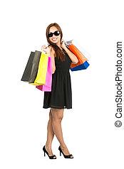 袋, 肩, フルである, 買い物, 上に, カメラ, アジア人