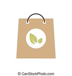 袋, 葉, ペーパー, アイコン