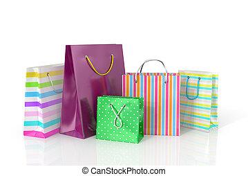 袋, 買い物, カラフルである, バックグラウンド。, ペーパー, 白