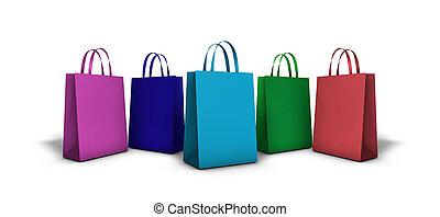 袋, 買い物, カラフルである