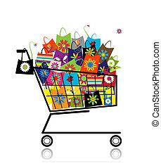 袋, 買い物, スーパーマーケット, デザイン, カート, あなたの