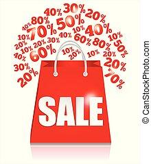 袋, 買い物, セール, 赤, percent.
